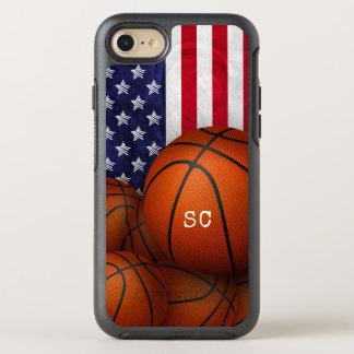 basketballs United States flag custom monogrammed OtterBox Symmetry iPhone 8/7 Case
