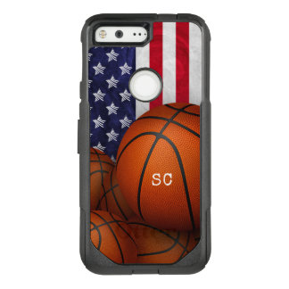 basketballs with American flag monogrammed OtterBox Commuter Google Pixel Case