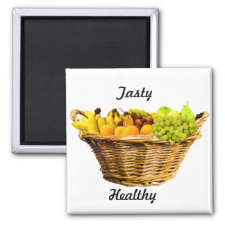Baskets of fruits with healthy and tasty wordings magnet