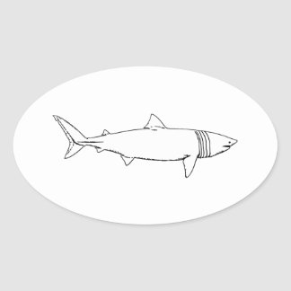 Basking Shark Logo (line art) Oval Sticker