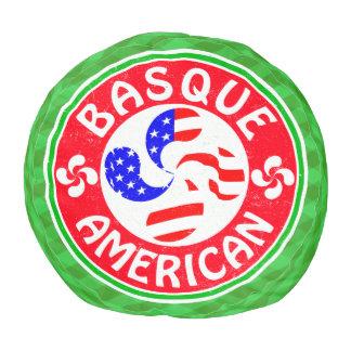 Basque American Cross Lauburu Round Pouffe Pouf