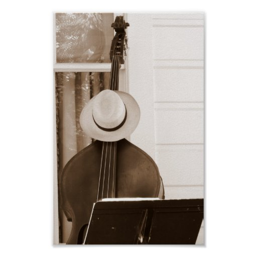 Bass and Hat waiting for the musician Poster