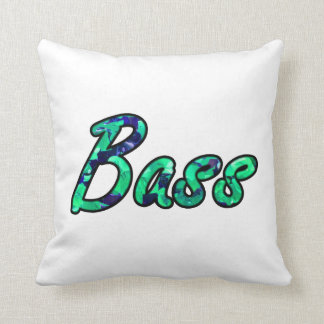 Bass bougie teal outline throw pillow