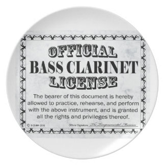 Bass Clarinet License Party Plates