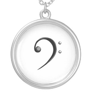 Bass Clef Casual Style Black and White Version Silver Plated Necklace
