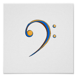 Bass Clef Casual Style Orange and Blue Poster
