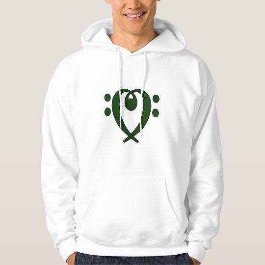 Bass clef heart dark green hoodie