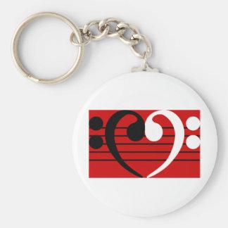 Bass Clef Heart Keychain