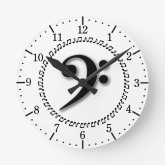 Bass Clef Music Note Design Wall Clock