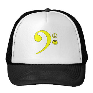 Bass Clef Note, Peace Sign, Smiley Face Hat. Trucker Hat