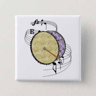 Bass Drum 2 Inch Square Button