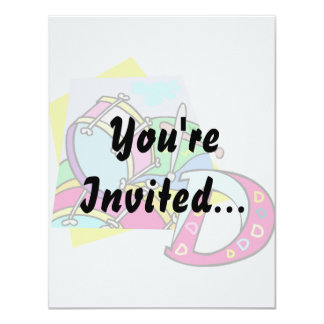"""Bass drum and letter D graphic colourful image 4.25"""" X 5.5"""" Invitation Card"""