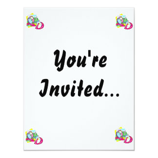 "Bass drum and letter D graphic colourful image 4.25"" X 5.5"" Invitation Card"