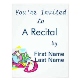 Bass drum and letter D graphic colourful image Personalized Invitation