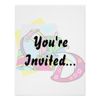 Bass drum and letter D graphic colourful image Personalized Announcement