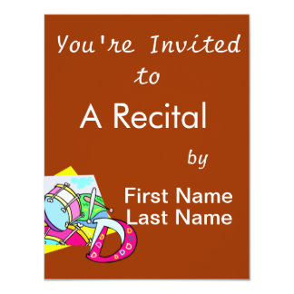 Bass drum and letter D graphic colourful image Personalized Invitations