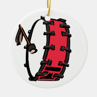 Bass Drum Marching Red with Mallet Clear Head Ceramic Ornament