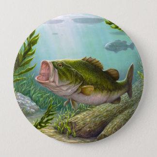 Bass Fish 4 Inch Round Button