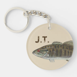 Bass fish with monogram or name keychain