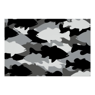 Bass Fishing Black Camo Poster