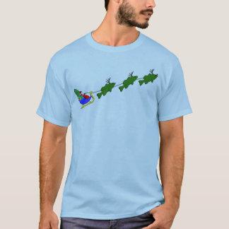 Bass Fishing Christmas Sleigh - funny T-Shirt