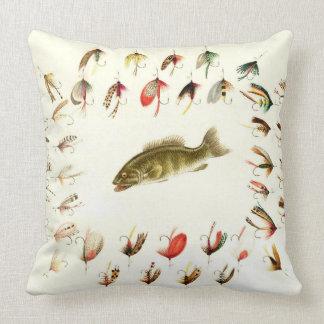 Bass Fishing Flies 1882 Throw Pillow
