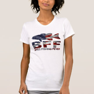BASS FISHING GIRL USA T SHIRTS