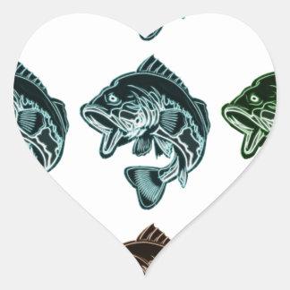 Bass Fishing Heart Sticker