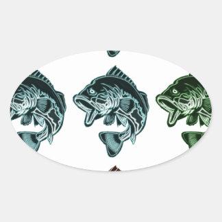 Bass Fishing Oval Sticker