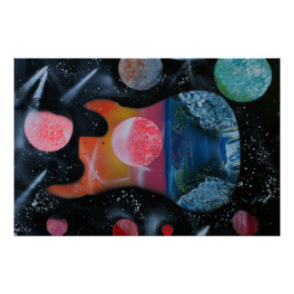 bass guitar left tropical theme spacepainting poster