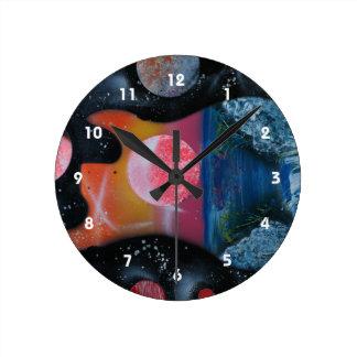 bass guitar left tropical theme spacepainting round clock