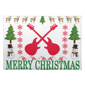 BASS GUITAR MERRY CHRISTMAS . PLACEMAT