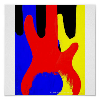 Bass Guitar Painting Abstract Bright Colours Poster