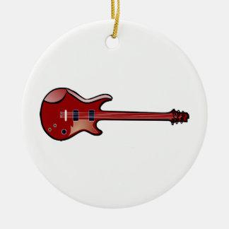 Bass guitar round ceramic ornament