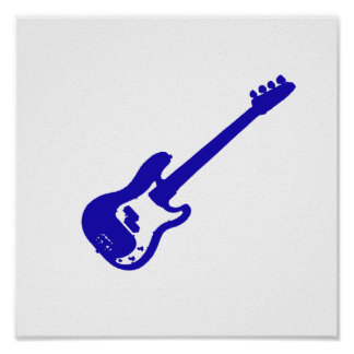bass guitar slanted blue graphic poster