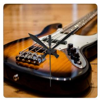 Bass Guitar Square Wall Clock