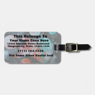 bass guitar teal planets spacepainting luggage tag
