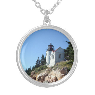 Bass Harbor Light Silver Plated Necklace