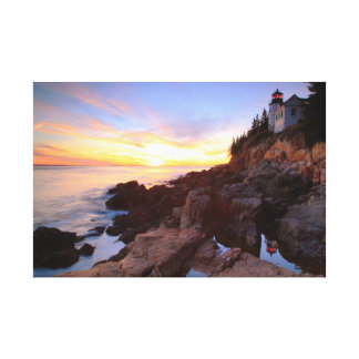 Bass Harbor Lighthouse Sunset Seascape Canvas Print