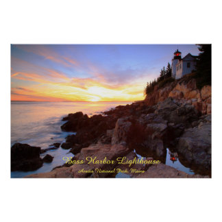 Bass Harbor Lighthouse Sunset Seascape Poster