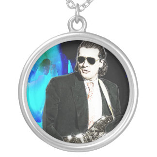 Bass Man Silver Plated Necklace