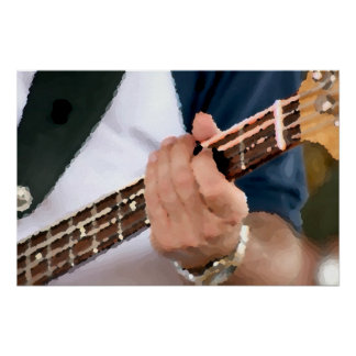 bass painterly player hand on neck male photograph posters