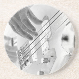 Bass player , bass and hand, negative image beverage coasters