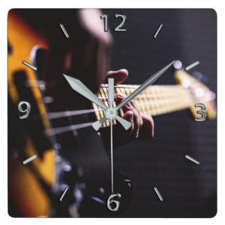 Bass Player Bass Guitar Music Square Wall Clock