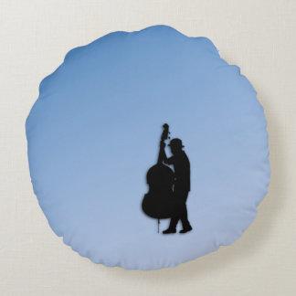 Bass Player Blue Round Pillow