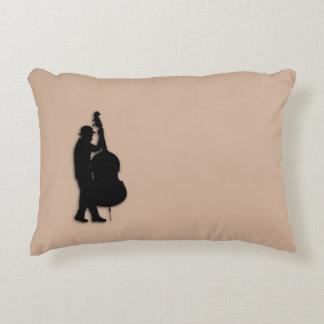 Bass Player Brown Accent Pillow
