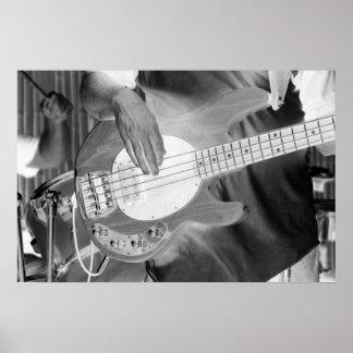 bass player bw invert four string bass hands drumm print