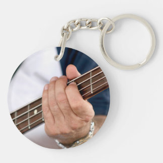 bass player hand on neck male photograph.jpg Double-Sided round acrylic keychain