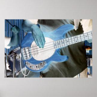 bass player invert four string bass hands drummer print