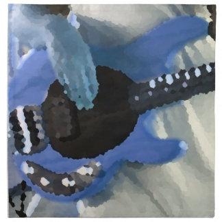 bass player painterly blue four string bass hands napkin